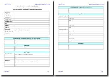 Rapport d'audit interne ISO/TS 16949 (modèle)