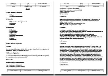 Procédure d'audit interne ISO/TS 16949