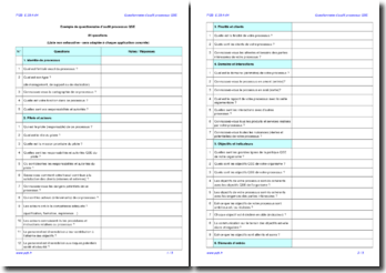 Questionnaire d'audit interne processus QSE (exemple)