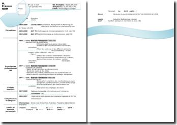 Modèle de curriculum vitae - gabarit avec mise en page graphique bleue