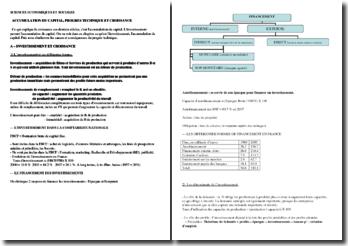Accumulation du capital, croissance et progrès technique (SES - Terminale ES)