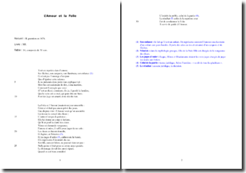La Fontaine, L'Amour et la Folie : étude analytique