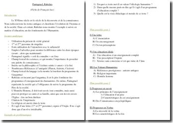 Rabelais, Pantagruel, Livre 2, Chapitre 8 : lecture analytique