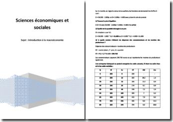 Exercice d'introduction à la macro-économie