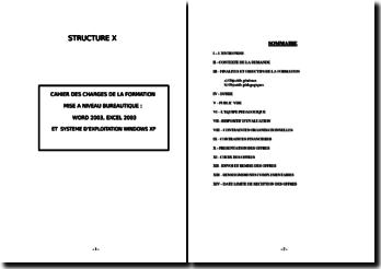 Cahier des charges pour demande de formation en bureautique
