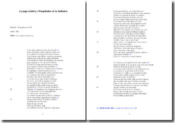 La Fontaine, Le Juge arbitre, l'Hospitalier et le Solitaire : analyse