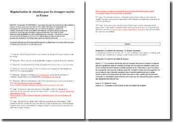 Lettre de demande de régularisation de situation des étrangers mariés en France