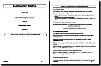 Progrès technique et croissance (corrigé de Bac SES 2007)