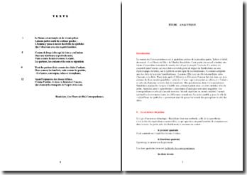 Charles Baudelaire, Correspondances, tiré de Les Fleurs du Mal (analyse)