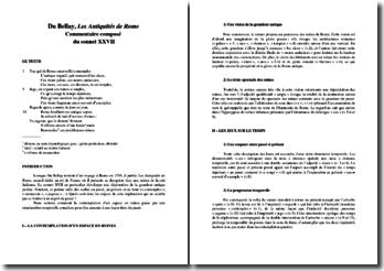 Joachim Du Bellay, Les Antiquités de Rome, sonnet 27 : commentaire