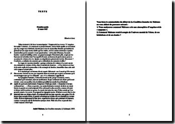 Malraux, La Condition humaine, Chapitre 1 : commentaire composé