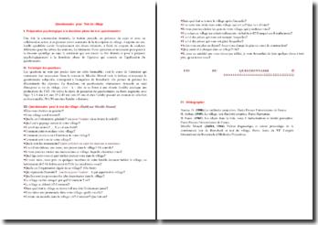 Le test du village : questionnaire (Mireille Monod)