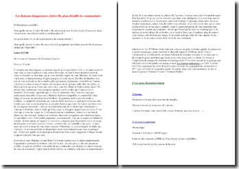 Laclos, Les Liaisons dangereuses, Lettre XLVIII : plan détaillé de commentaire