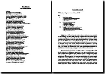Racine, Phèdre, Acte II scène 5, Extrait : commentaire composé