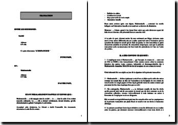 Lettre de transaction employeur-salarié suite à un litige