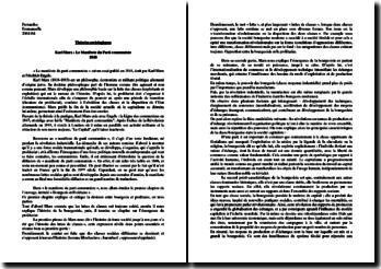 Karl Marx, Manifeste du Parti communiste : commentaire et biographie