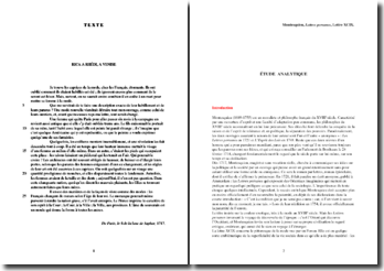 Montesquieu, Lettres persanes, Lettre XCIX : étude analytique