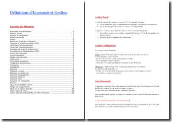 Définitions et formules de base en Economie-Gestion
