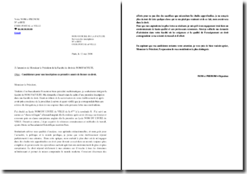 Lettre de motivation pour obtenir une dérogation d'inscription dans une faculté de droit hors sectorisation