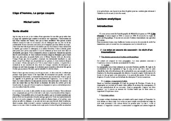 Michel Leiris, L'âge d'homme, Gorge coupée : commentaire composé