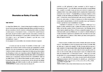 Dissertation sur Barbey d'Aurevilly