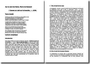 Pierre de Ronsard, Sur la mort de Marie, Comme on voit sur la branche... : commentaire composé