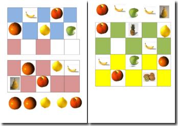 Jeu de loto avec des fruits