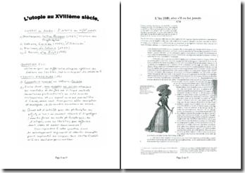 L'utopie au XVIIIème siècle : sujet type bac de français