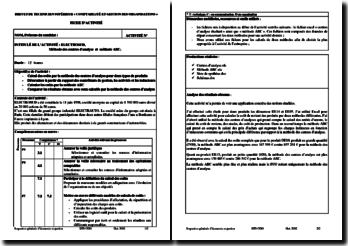 Fiche d'Activité Professionnelle de Synthèse (APS) de l'entreprise Electrosud : méthode des centres d'analyse et méthode ABC