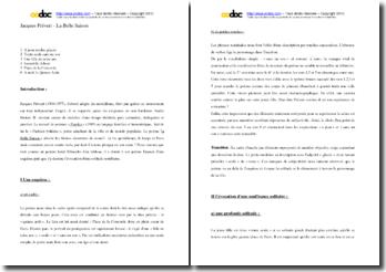Jacques Prévert, Paroles, La Belle Saison : commentaire composé