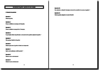 Introduction à la gestion : questions de cours corrigées