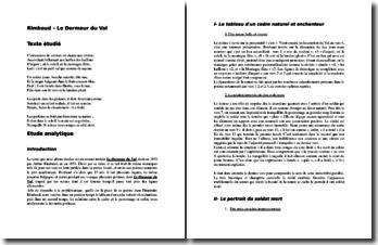 Arthur Rimbaud, Le Dormeur du Val : commentaire composé
