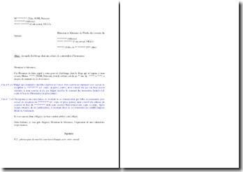 Lettre de demande d'arbitrage du bâtonnier dans une affaire de contestation d'honoraires