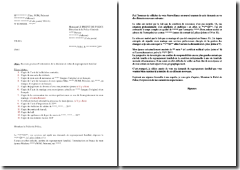 Lettre de recours gracieux suite à un refus de regroupement familial notifié par le préfet
