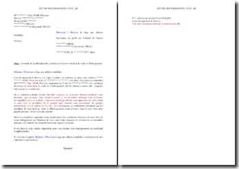 Lettre de demande de modification des conditions d'exercice du droit de visite et d'hébergement