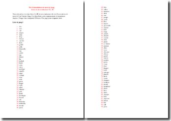 Le test d'association de mots (Jung) : listes de mots inducteurs