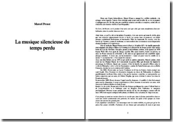 Marcel Proust : La musique silencieuse du temps perdu