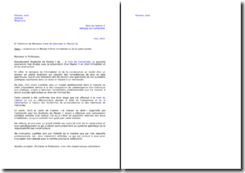 Lettre de motivation Master 2 droit de l'immobilier et de la construction