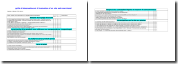 Grille d'observation et d'évaluation d'un site Web marchand