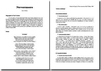 Paul Verlaine, Nevermore : commentaire composé