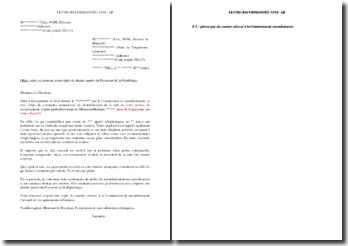 Lettre avisant la direction de l'organisme créancier d'un harcèlement subi