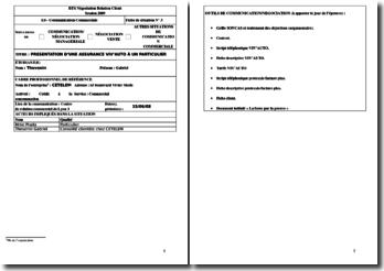 Fiche E4 de BTS NRC : présentation d'une assurance Viv'Auto à un particulier