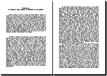 Denis Diderot, Jacques le Fataliste et son maître : le thème de la violence et du mal