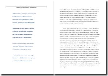 Du Bellay, Les Regrets, Sonnet XXV : étude linéaire