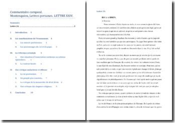 Montesquieu, Lettres persanes, Lettre XXIV : commentaire d'un extrait