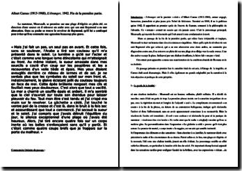 Albert Camus, L'Etranger : commentaire de la scène du meurtre