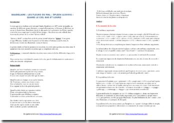 Charles Baudelaire, Les Fleurs du Mal, Spleen et Idéal, Spleen LXXVIII : commentaire composé