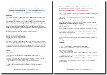 Montaigne, Essais, Apologie de Raymond Sebond (II, 12) : commentaire composé