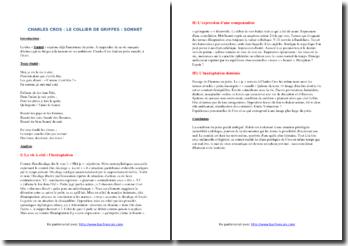 Charles Cros, Le Collier de Griffes, Sonnet : étude linéaire