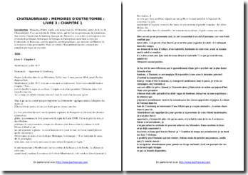 Chateaubriand, Mémoires d'outre-tombe, Livre III, Chapitre 1 : commentaire composé